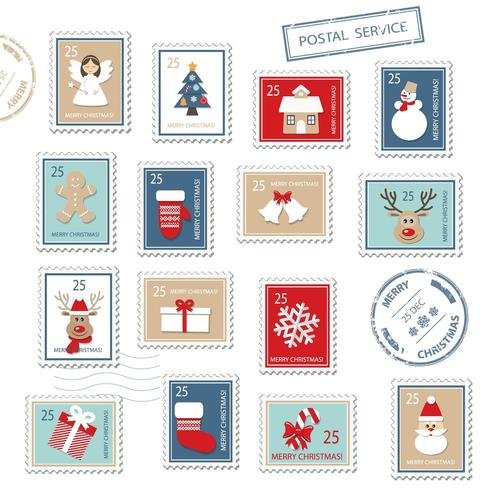 Julens frimärken uppsättning vektor