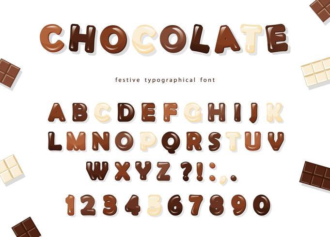 Glansiga chokladbokstäver och siffror vektor