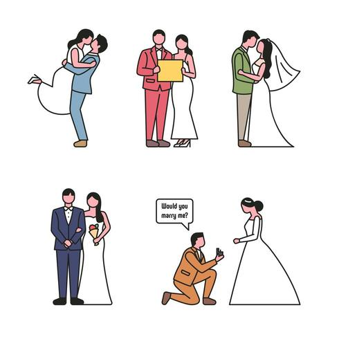 Teckenuppsättning för bröllopspar i konturstil vektor
