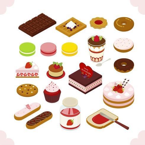Süßes Kuchen-Sammlungs-isometrisches Design vektor