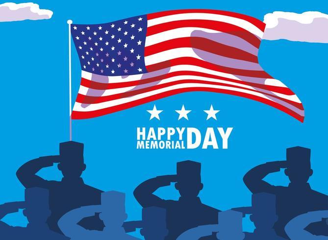 lycklig minnesdagskort med flagga USA och silhuett av militärer vektor