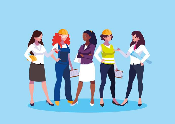 uppsättning av kvinnliga ingenjörer vektor