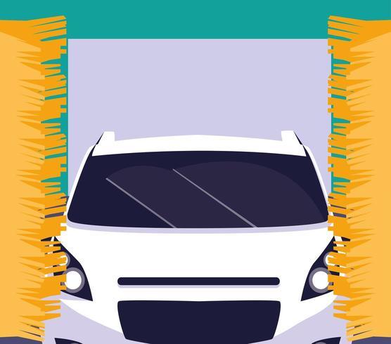 Bil i biltvätt vektor