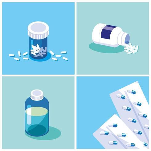 uppsättning medicinflaskor vektor