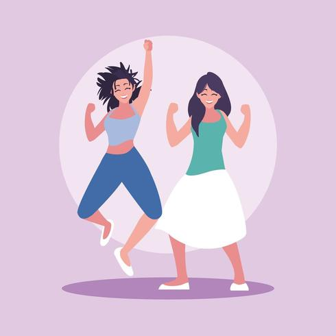 grupp unga kvinnor glada firar med händerna upp vektor