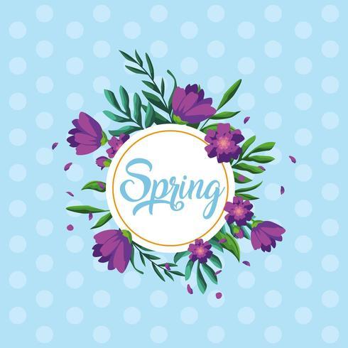 hej vårkort med vackra blommor i cirkulär ram vektor