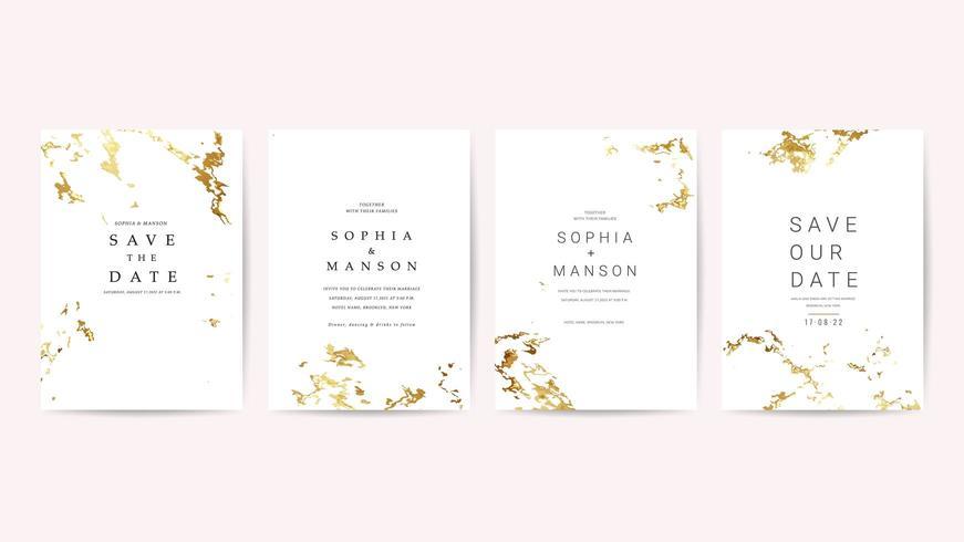 Lyxigt bröllop inbjudan kort samling vektor