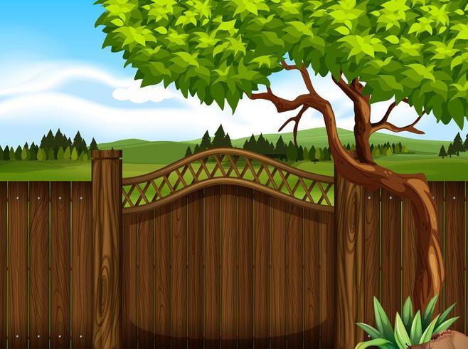 Trästaket i trädgården vektor