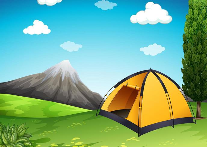 Gult tält på campingen vektor