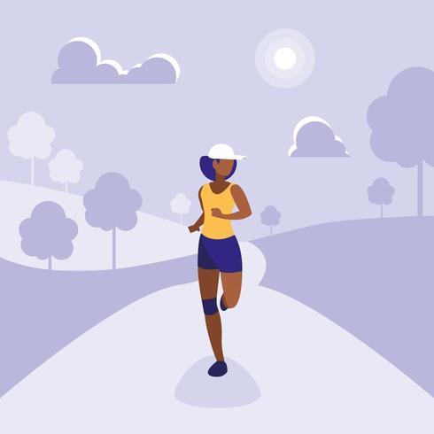 Sportlerin läuft auf Trail vektor