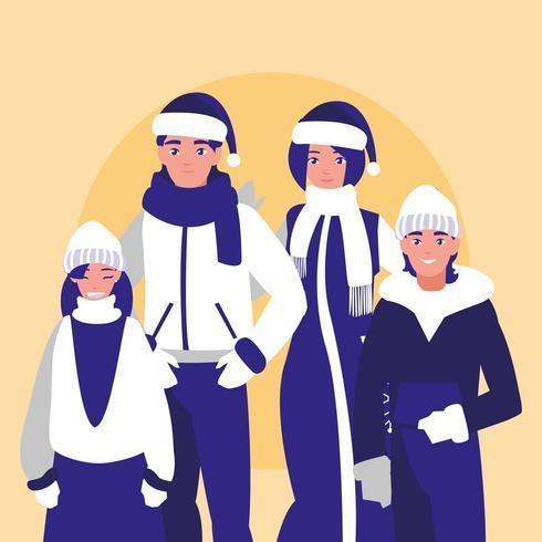 grupp familj med vinterkläder vektor