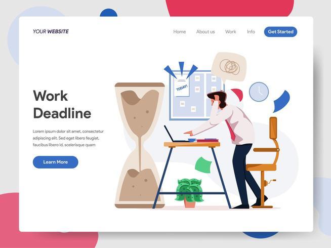 Affärsman som arbetar på deadlineillustrationbegrepp vektor