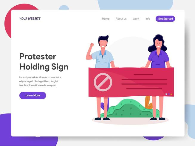 Protestierender, die Zeichen-Illustrations-Konzept halten vektor