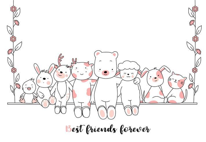 Bästa vänner för alltid baby djur kort vektor