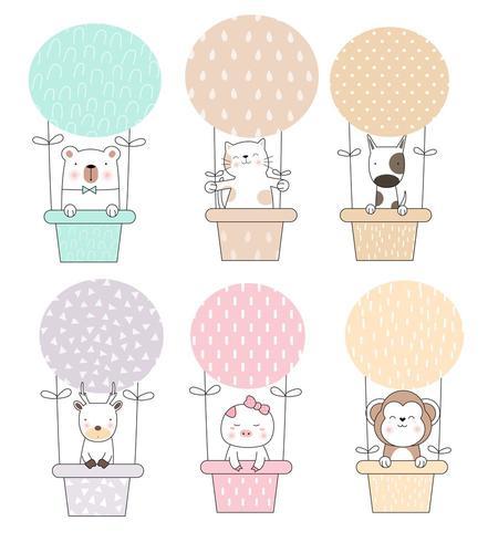 Niedliche Tierbabys im Heißluftballon-Set vektor