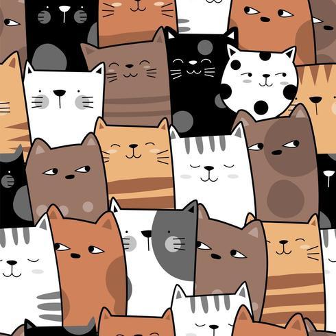 Nette Katze stellt nahtloses Muster gegenüber vektor