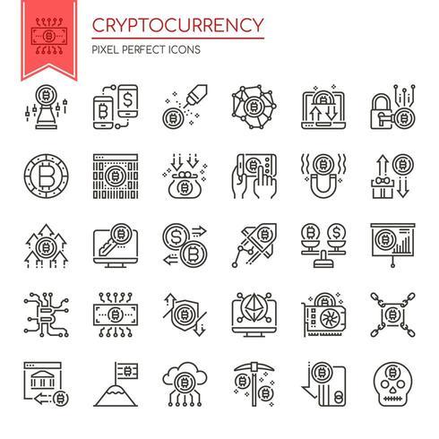 Uppsättning av tunn linje svartvita Cryptocurrency ikoner vektor
