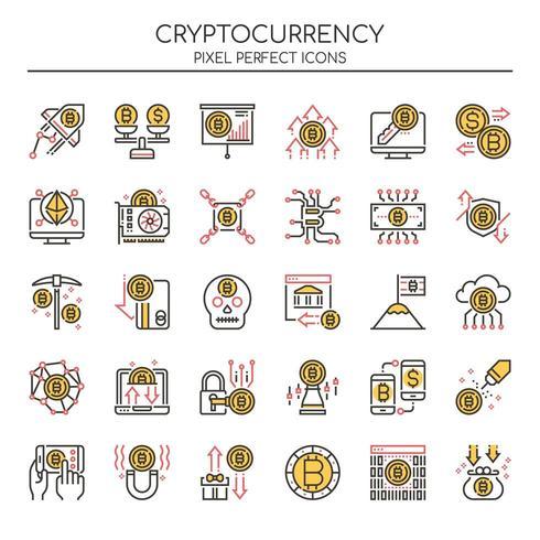 Uppsättning av tunn linje duoton Cryptocurrency ikoner vektor