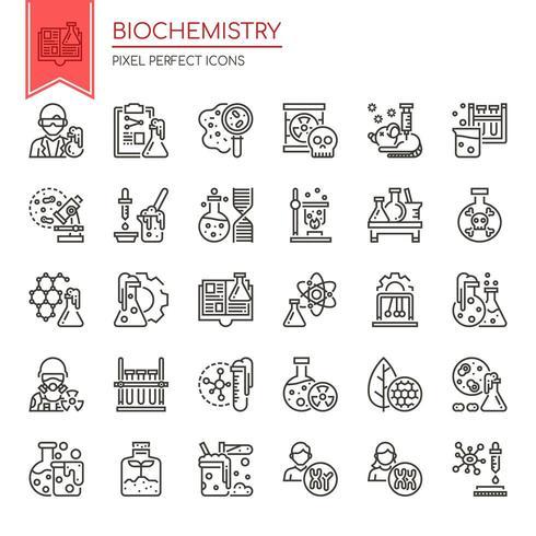 Satz dünne Schwarzweiss-Linie Biochemie-Elemente vektor