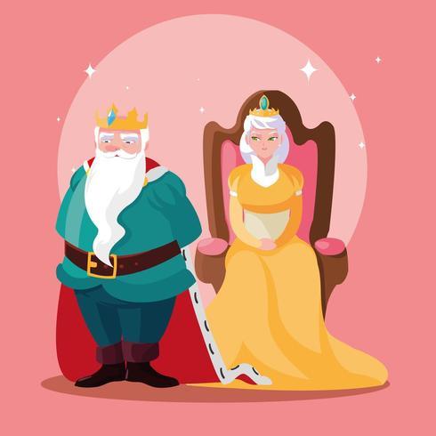 König und Königin magisches Märchen vektor