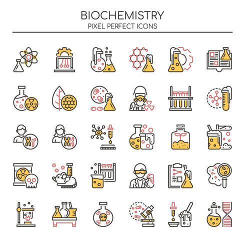 Uppsättning av Duotone tunn linje biokemi ikoner vektor