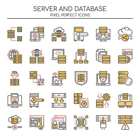 Uppsättning av Duotone Thin Line Server och databasikoner vektor