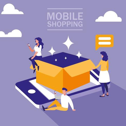 Smartphone und online einkaufen vektor