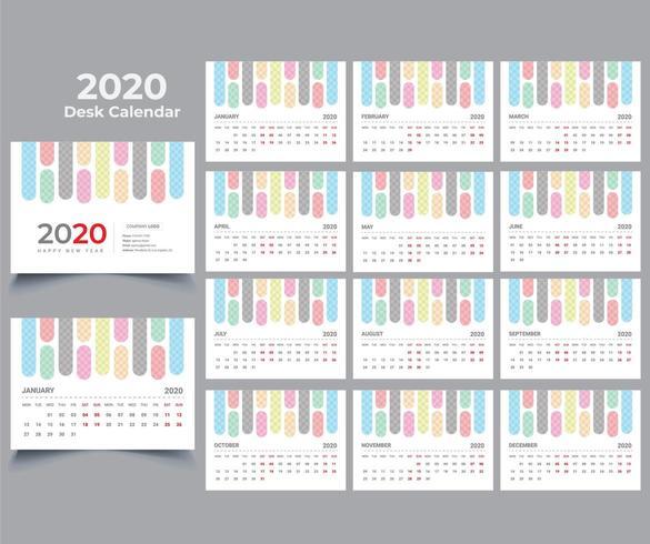 2020 Skrivbordskalender vektor
