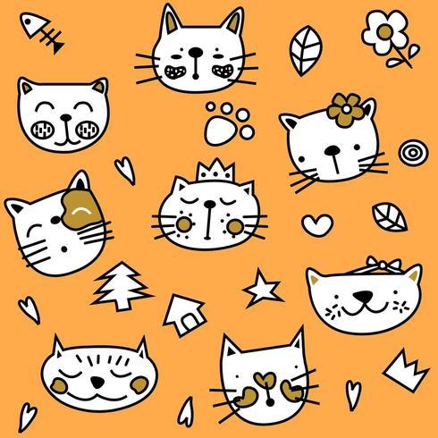 Nette einfache orange Cat Seamless Pattern vektor