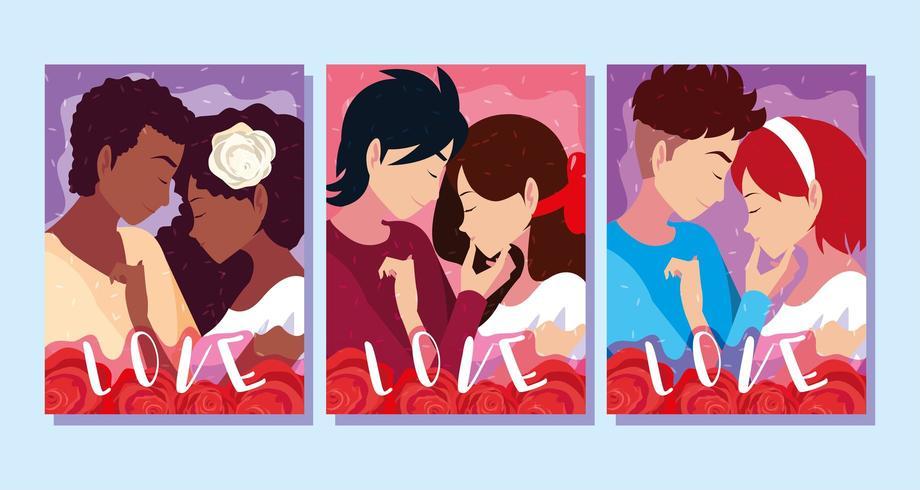 uppsättning affisch med unga par förälskade i rosor dekoration vektor
