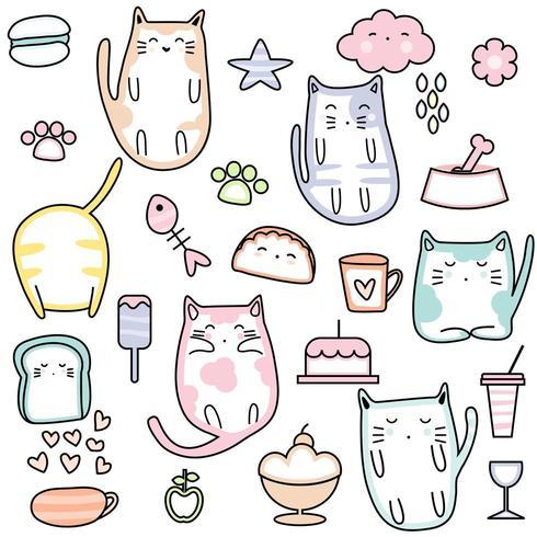 Katter och sötsaker Söt sömlös mönster vektor