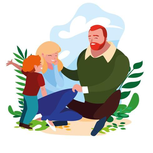 föräldrar med son utomhus vektor