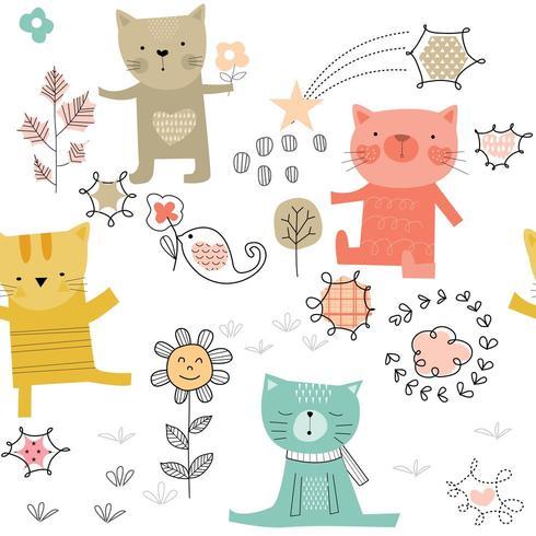 Söta katter som spelar sömlösa mönster vektor