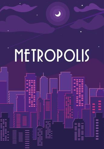 metropolis stadsbilden byggnader med lila himlen vektor