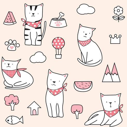 Niedliche rosa Sommer Cat Seamless Pattern vektor