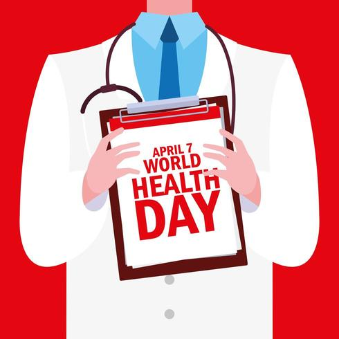 världshälsodagskort med läkare vektor