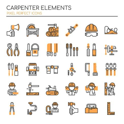Uppsättning av Duotone Thin Line Carpenter Elements vektor