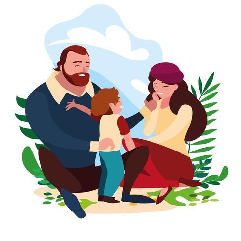 Eltern mit ihrem Sohn rumhängen vektor