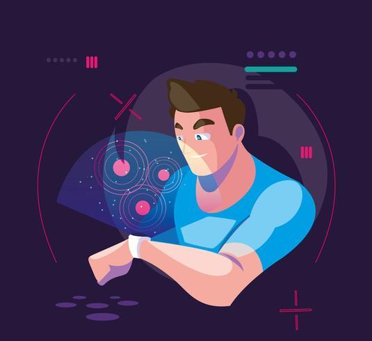 Mann mit VR-Technologie vektor