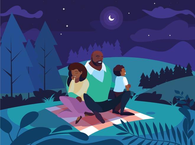 föräldrar med sonfamiljen i nattlandskap vektor