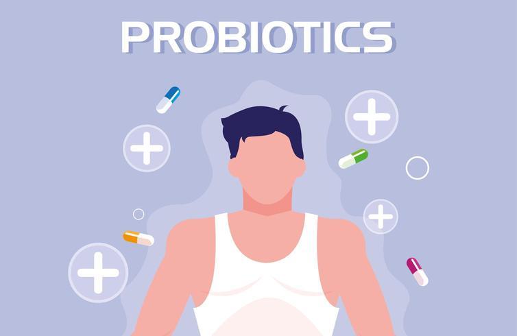 Körper des Menschen mit Kapseln Medikamente Probiotika vektor