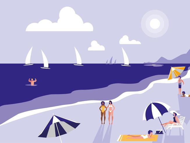 Menschen am Strand seelandschaft vektor