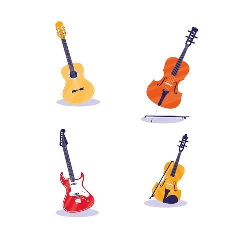 uppsättning musikinstrument vektor