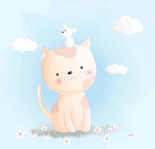 Gullig baby kattvattenfärgstil. Vektorillustration vektor