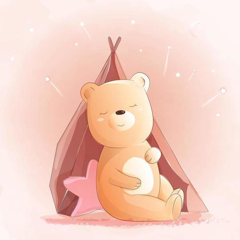 Söt babybjörn akvarellstil vektor