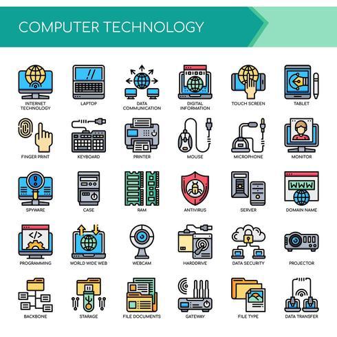 Uppsättning av tunna linjer ikoner för datorteknologi vektor