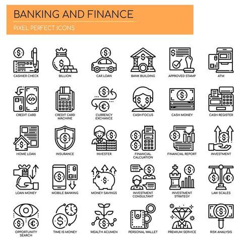 Satz der dünnen Schwarzweiss-Linie Bank- und Finanzikonen vektor