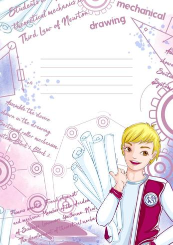 Vorlage für Notebook oder Notizblock mit jungen Studenten vektor