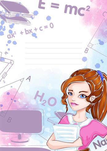 Mall för anteckningsbok eller anteckningsblock med flickastudent vektor