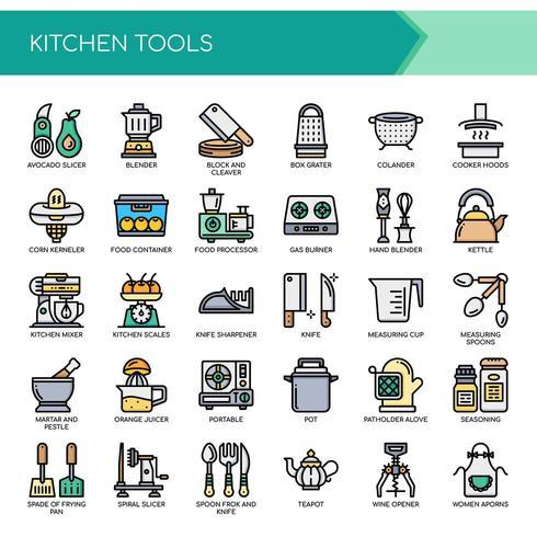 Satz Farbdünne Linie Küchen-Werkzeug-Ikonen vektor